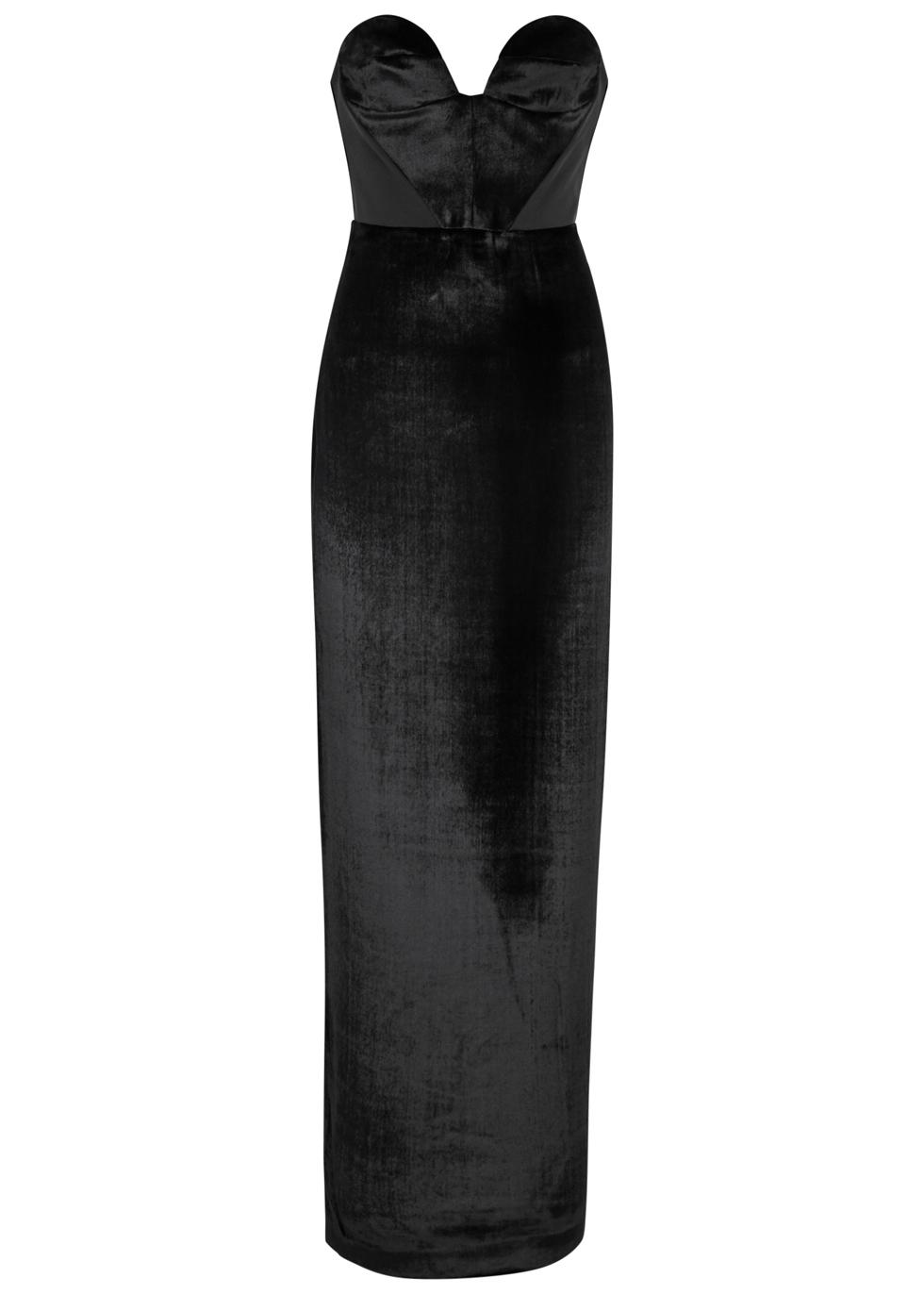 CARMEN MARCH Black Strapless Velvet Gown