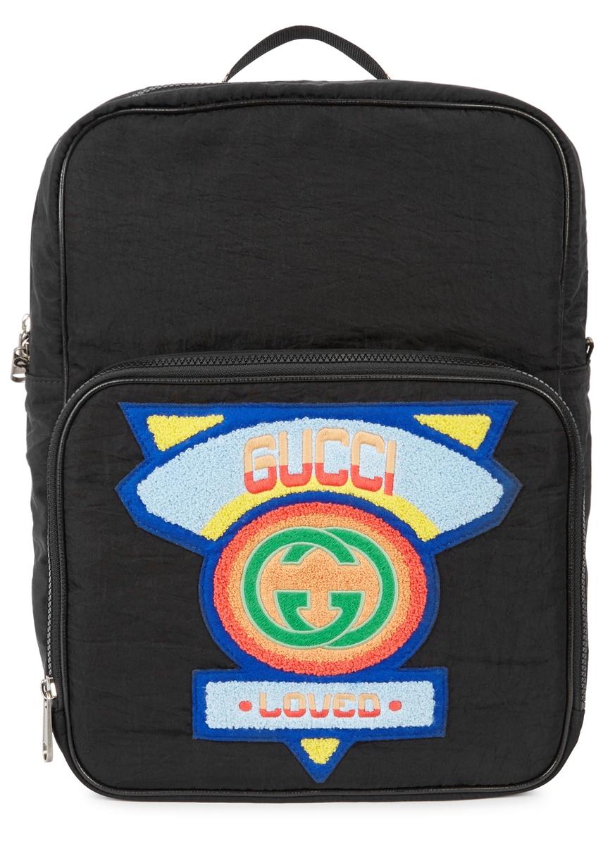28f54adb43c Black appliquéd nylon backpack ...