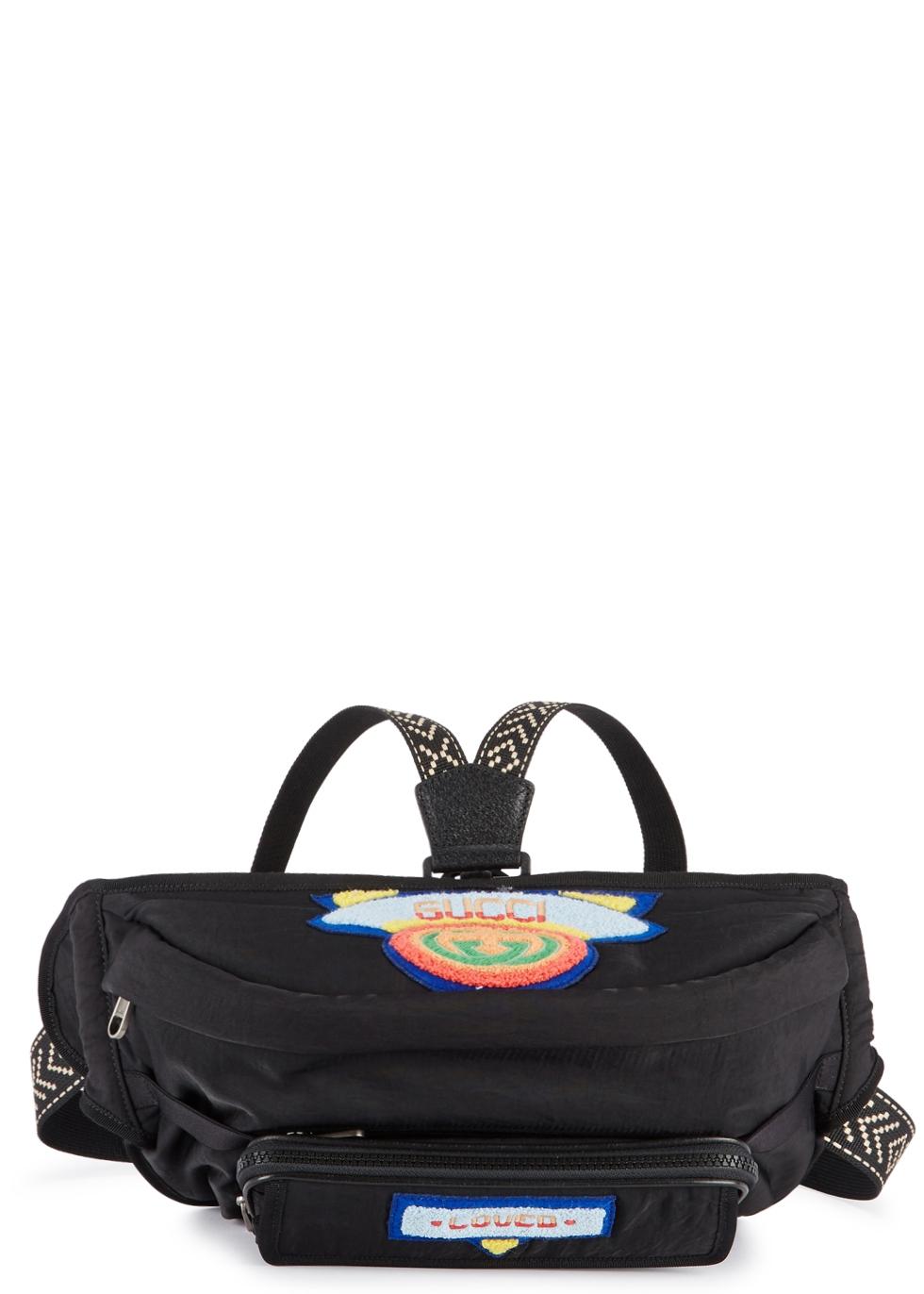Black Logo Patch Nylon Belt Bag in 8563 Black
