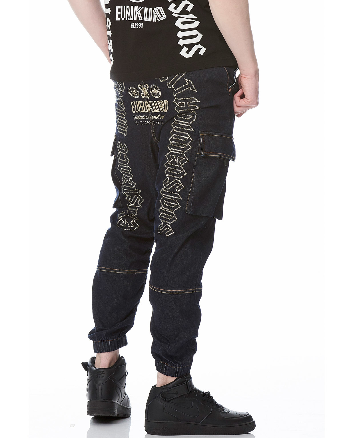 EVISU UNTITLED GRAPHIC EMBROIDERED CARGO POCKET DENIM JEANS