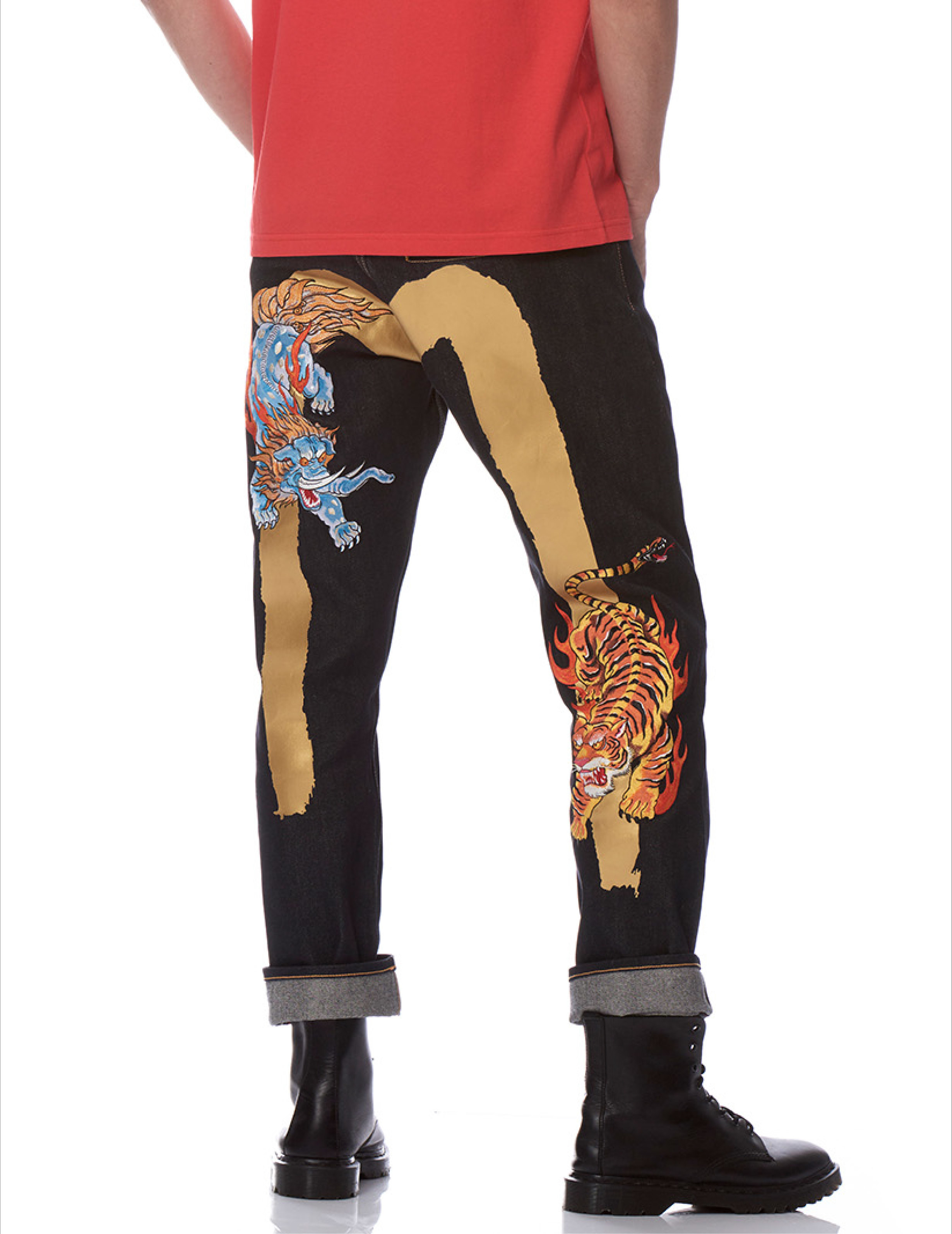 EVISU REGULAR-FIT DAICOCK PRINT DENIM JEANS WITH BAKU & NUE EMBROIDERY