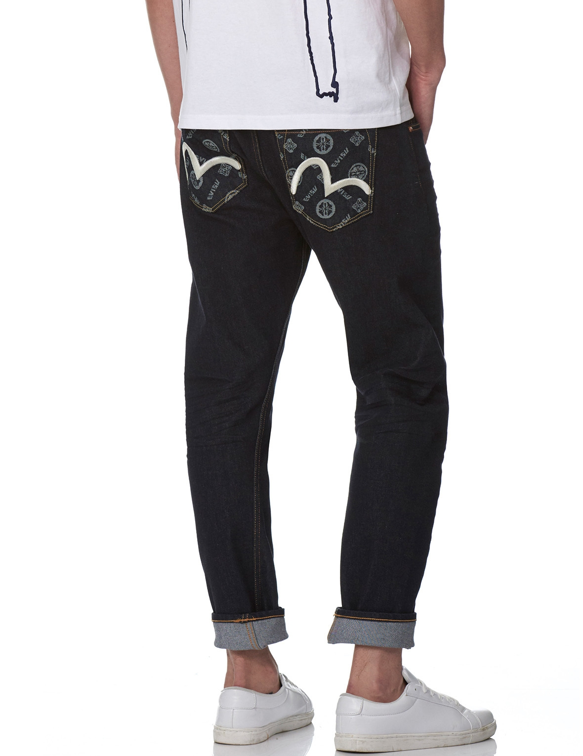 EVISU DENIM JEANS WITH JACQUARD POCKETS