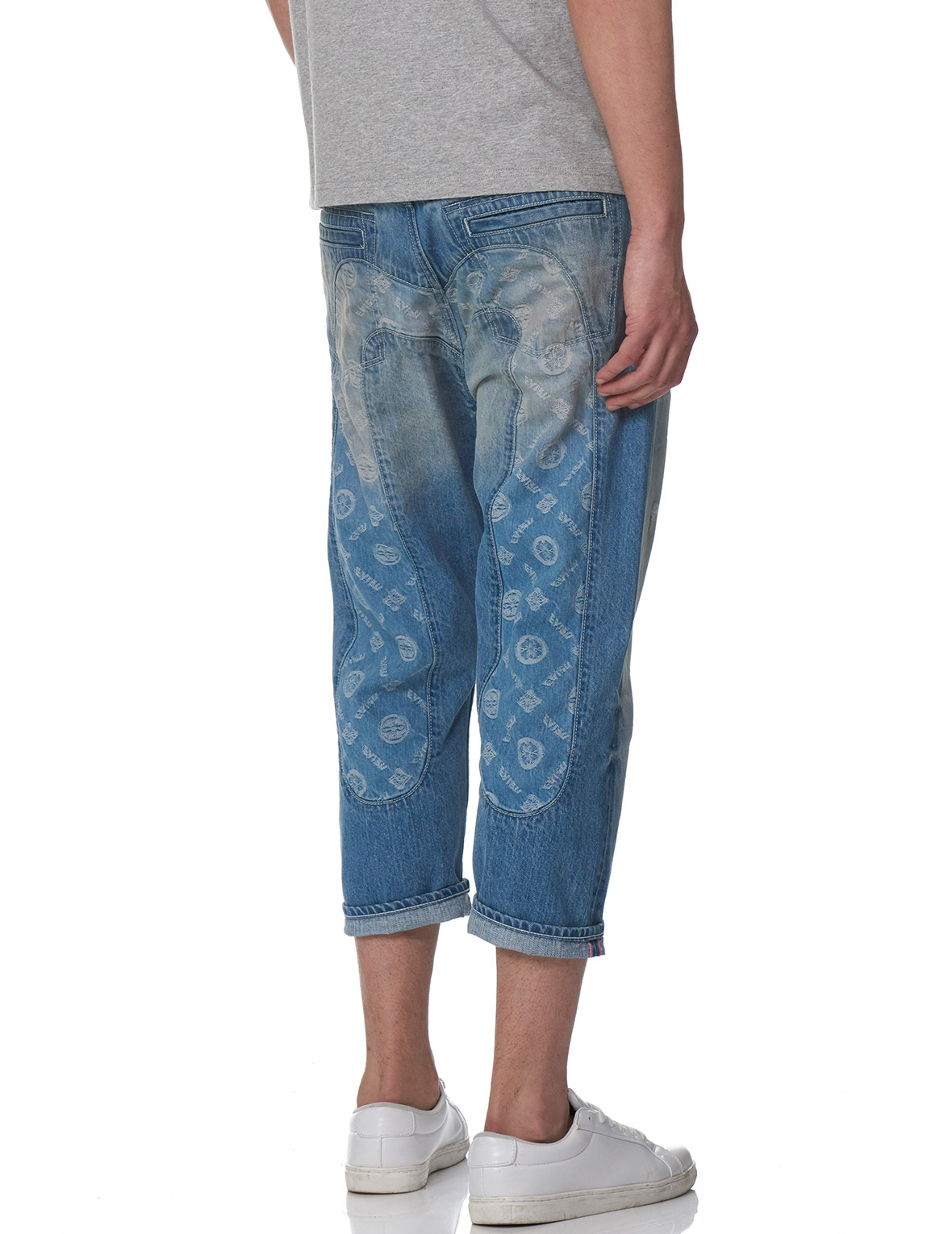 EVISU DENIM JEANS WITH JACQUARD INSERT DAICOCK