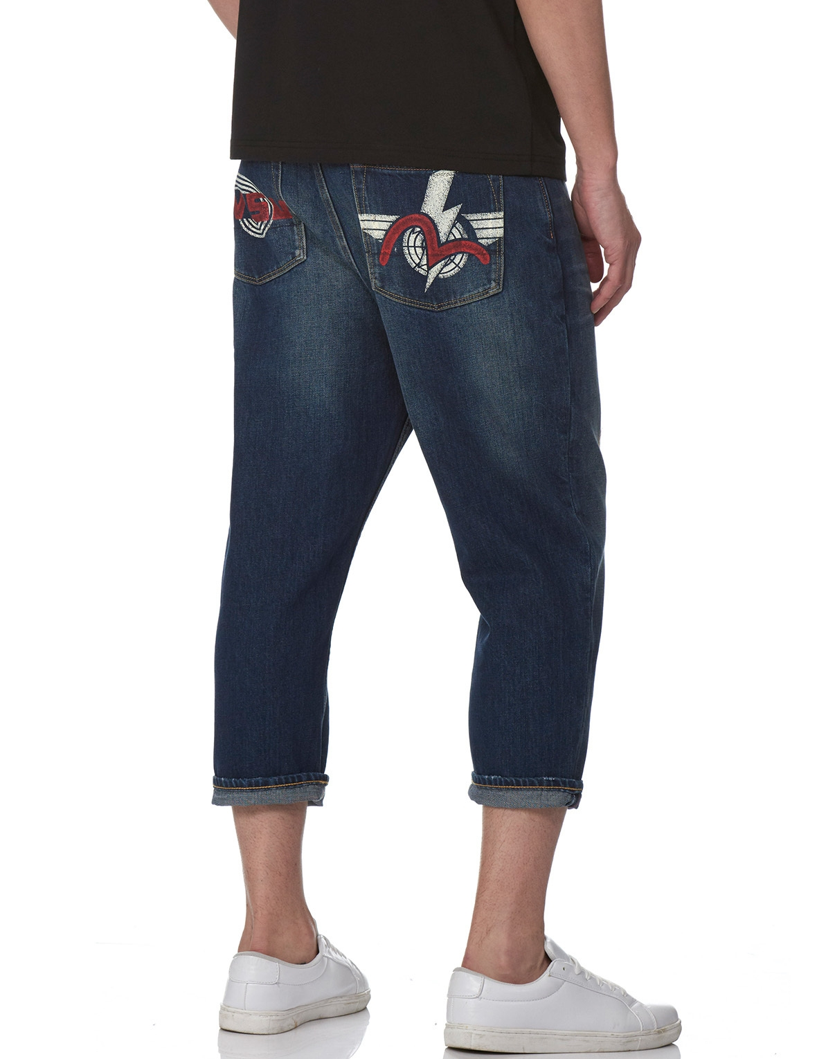 EVISU DENIM JEANS WITH LOGO AND SEAGULL PRINT