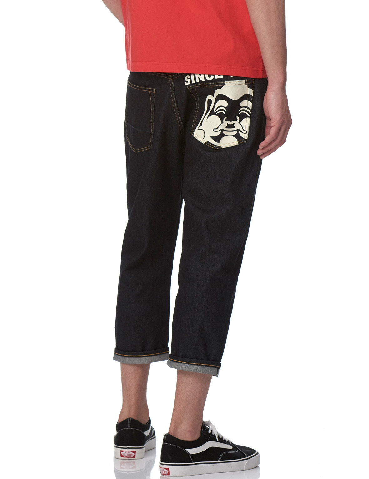 EVISU CARROT-FIT DENIM JEANS WITH GODHEAD PRINT