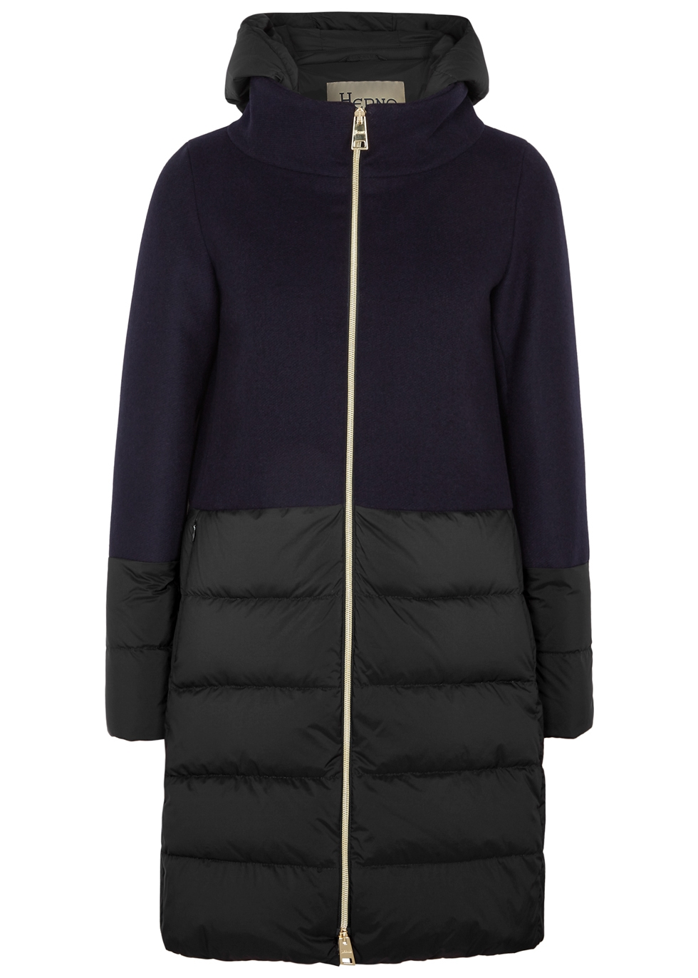 QUILTED SHELL AND WOOL-BLEND COAT