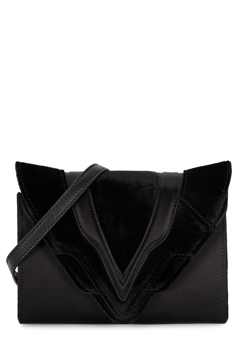 FELINA BLACK VELVET AND SATIN CLUTCH