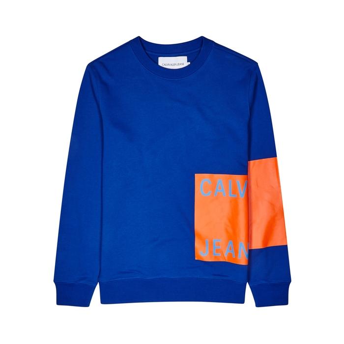Calvin Klein Jeans Blue Logo-print Cotton Sweatshirt