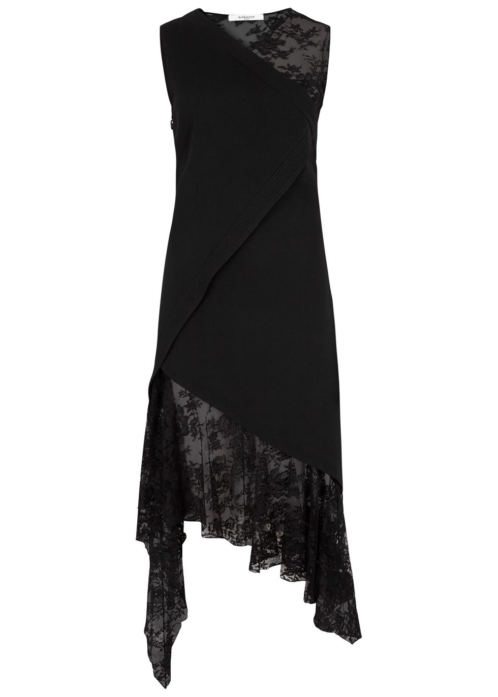GIVENCHY BLACK WOOL AND LACE DRESS