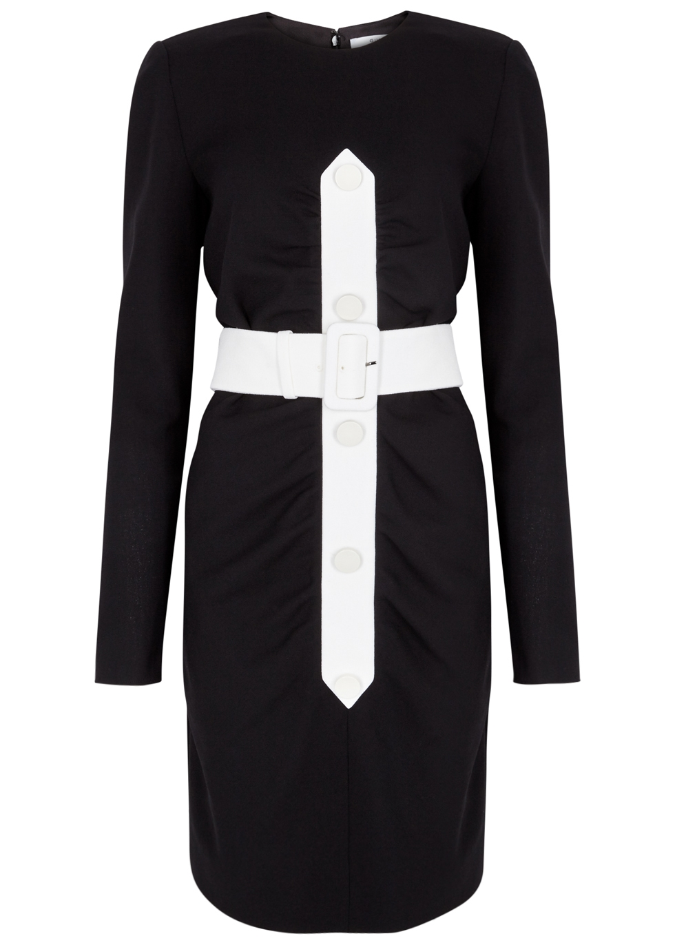 GIVENCHY BLACK BELTED WOOL DRESS