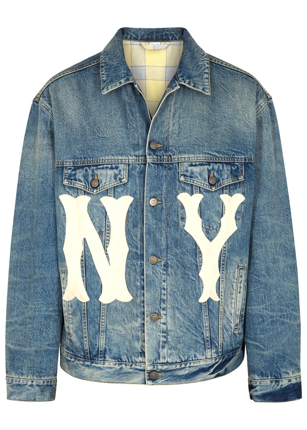 Denim Jacket With Ny Yankees&Trade; Patch, Blue Stonewashed Denim