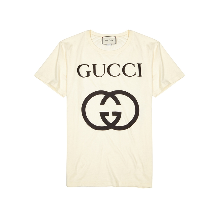 Gucci Cream Logo-print Cotton T-shirt thumbnail