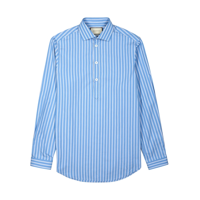 Gucci Blue Striped Cotton Shirt