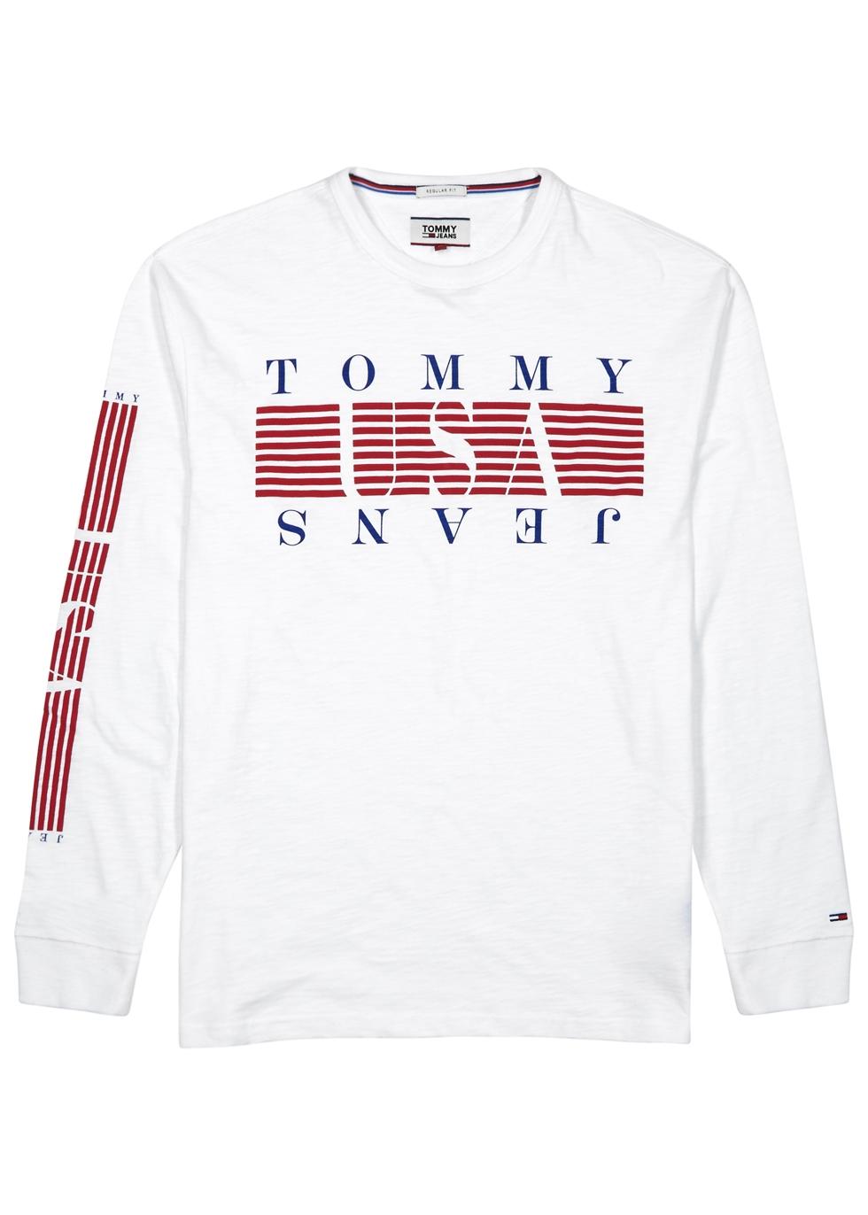TOMMY JEANS WHITE LOGO-PRINT COTTON TOP