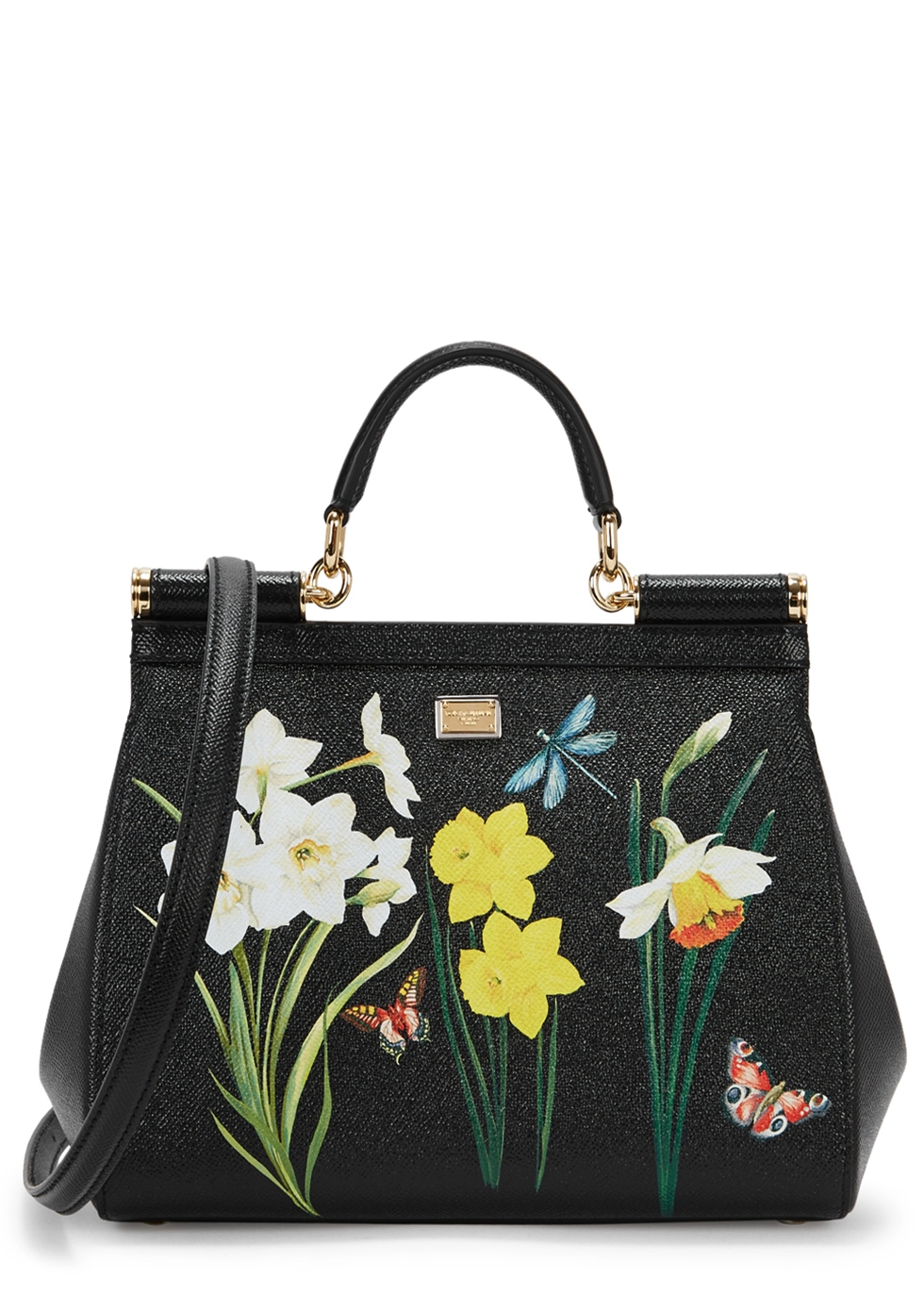 SICILY MEDIUM FLORAL-PRINT LEATHER TOTE