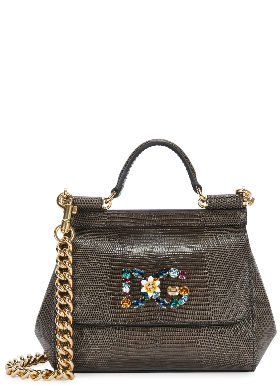 MISS SICILY SMALL IGUNA-EFFECT LEATHER TOTE