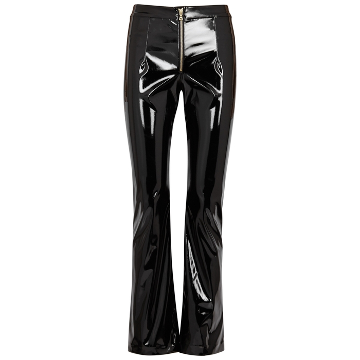 Galvan GLOSS BLACK STRAIGHT-LEG TROUSERS