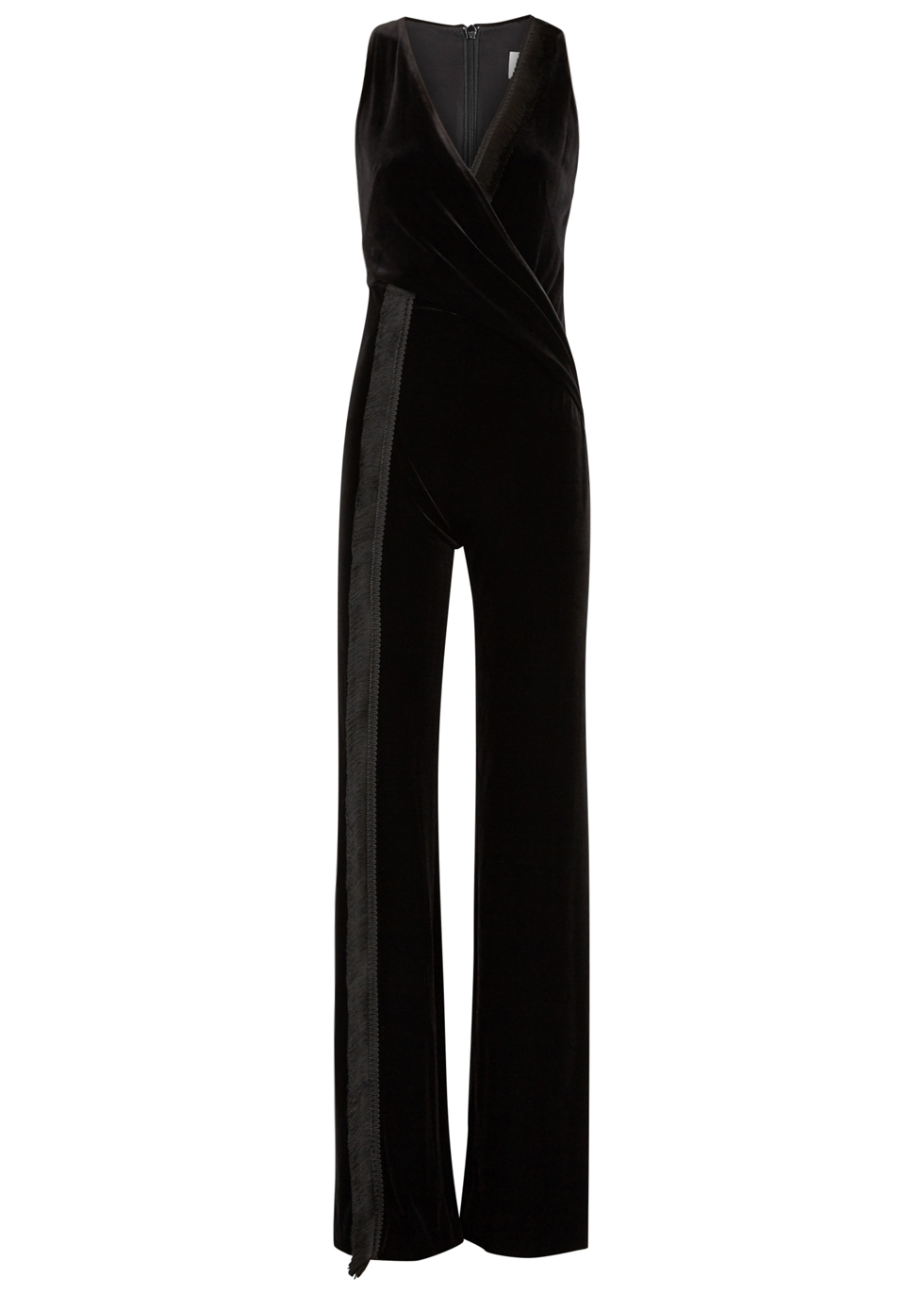 BRUSHSTROKE FRINGED VELVET JUMPSUIT