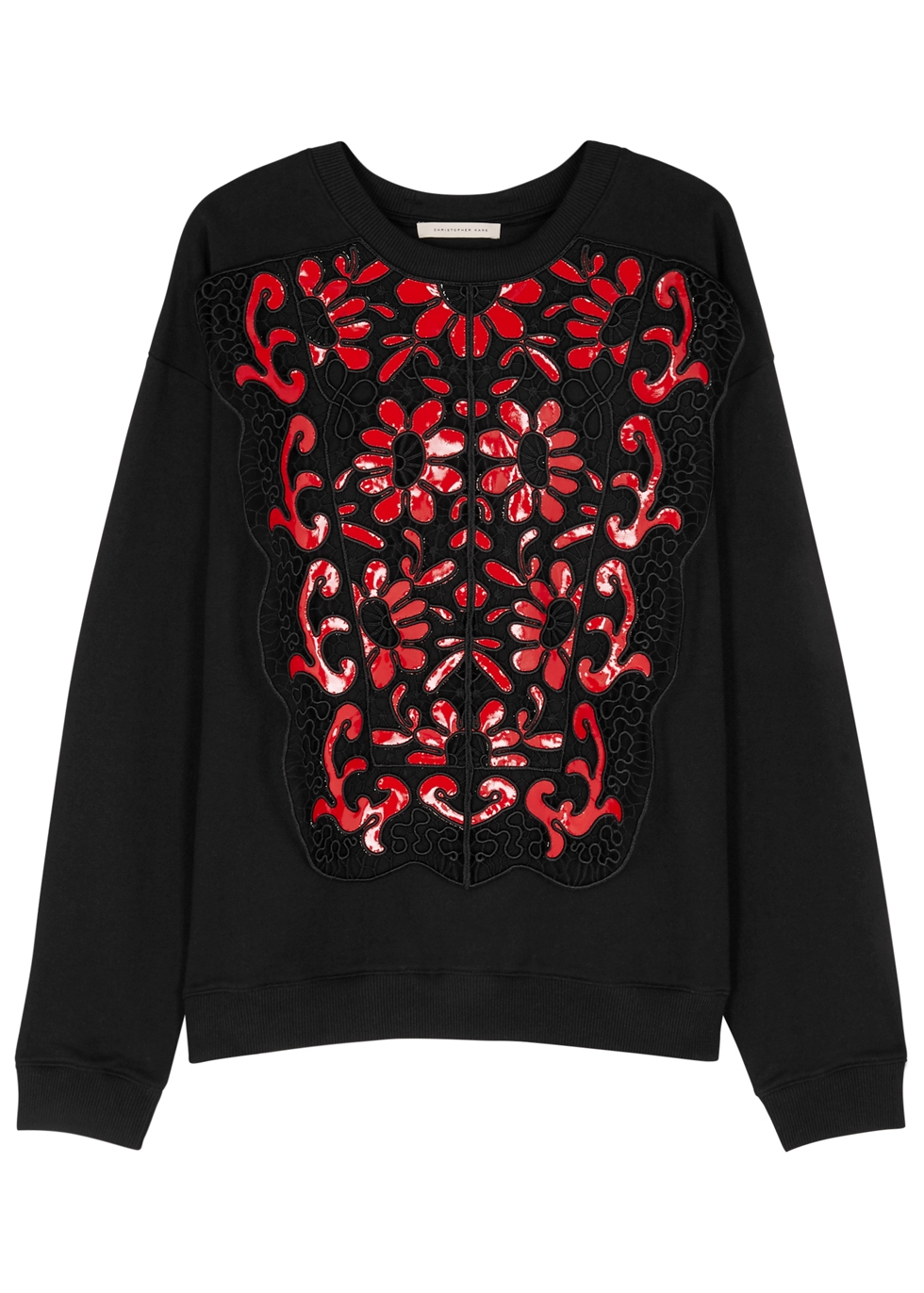 CHRISTOPHER KANE BLACK GUIPURE LACE AND COTTON SWEATSHIRT