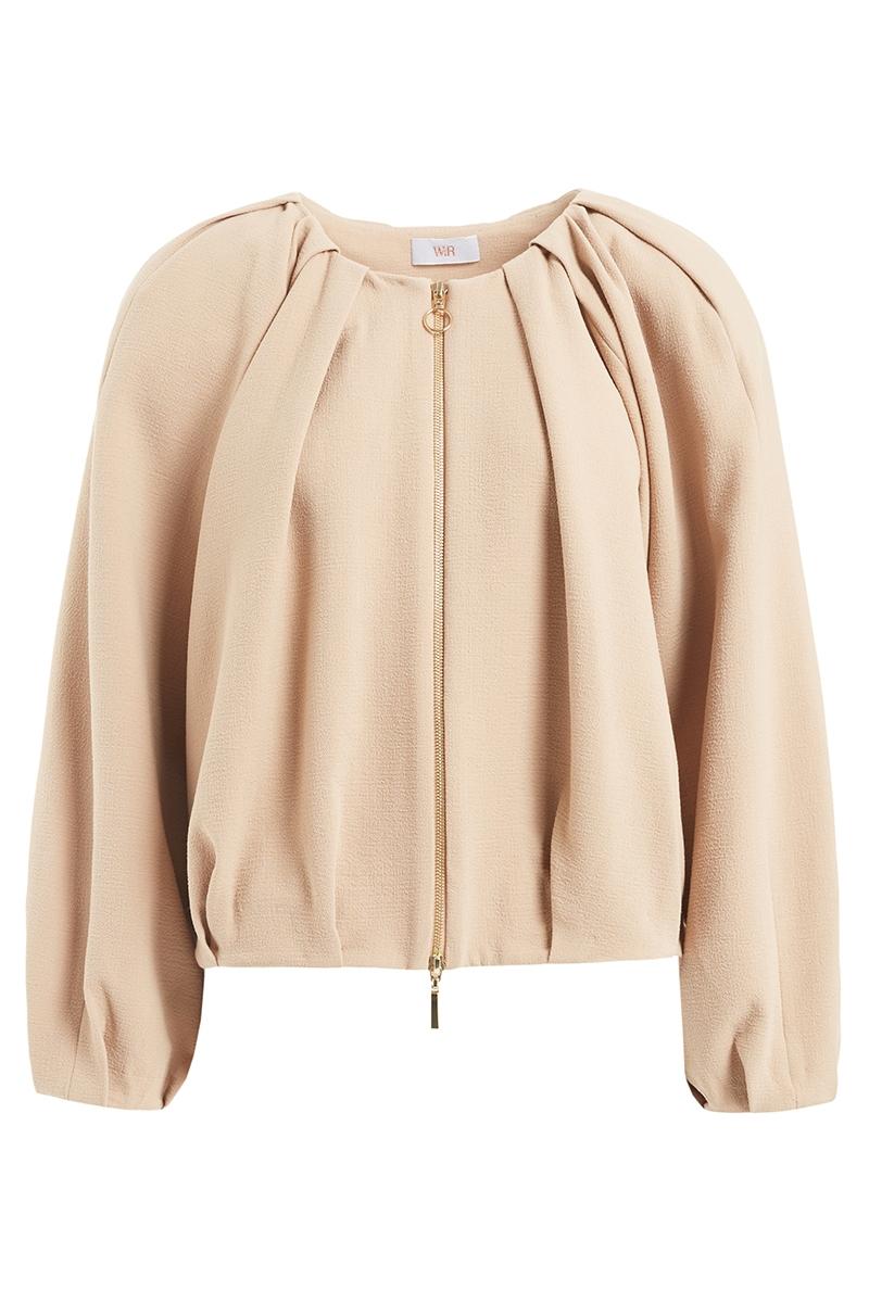 WTR  Vera Cream Oversized Wool Bomber Jacket