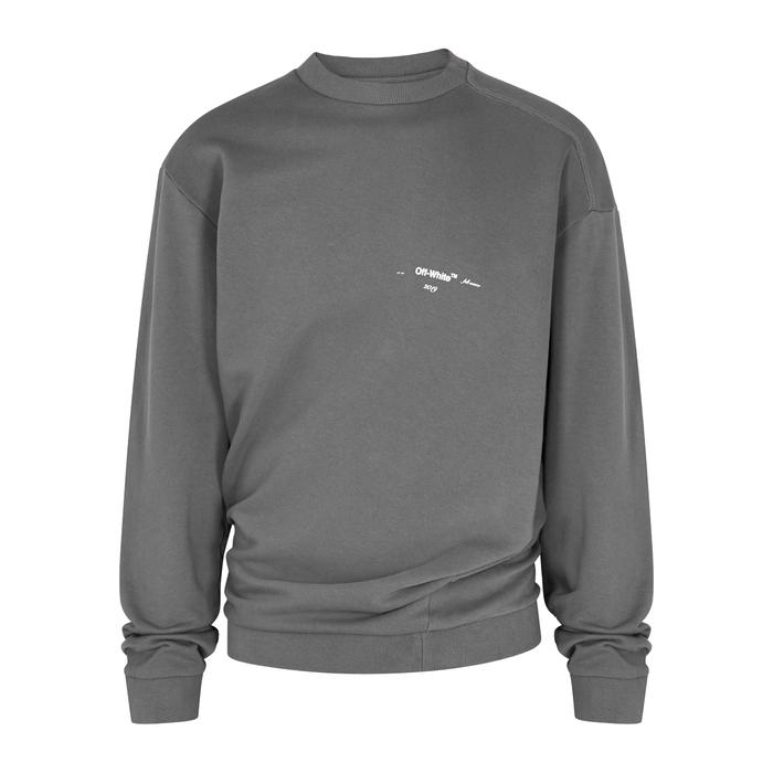 Off-White Bias Seam Grey Cotton Sweatshirt