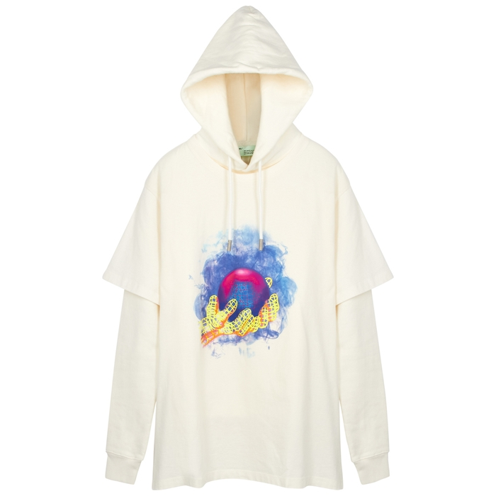 Off-White World Hand Hooded Cotton Sweatshirt