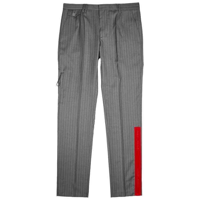 Off-White Grey Pinstriped Wool Trousers