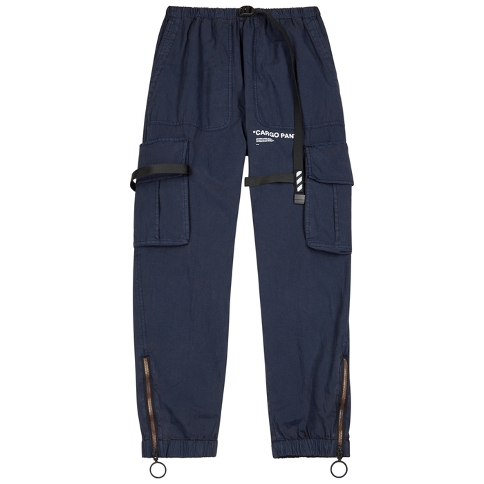 Off-White Navy Cotton-blend Cargo Trousers