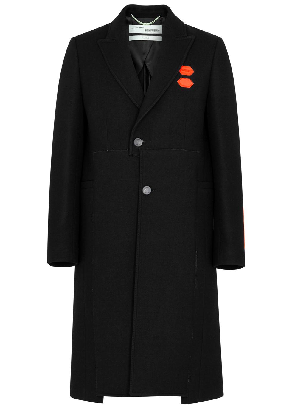 Single-Breasted Wool-Blend Overcoat, Black