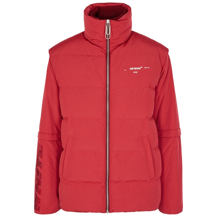 Off-White Red Quilted Shell Jacket