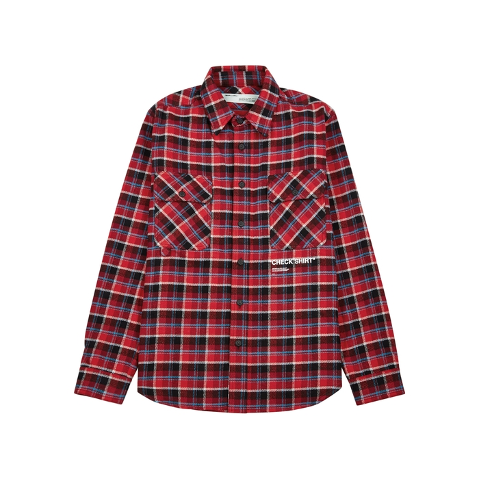 Off-White Quote Red Checked Flannel Shirt