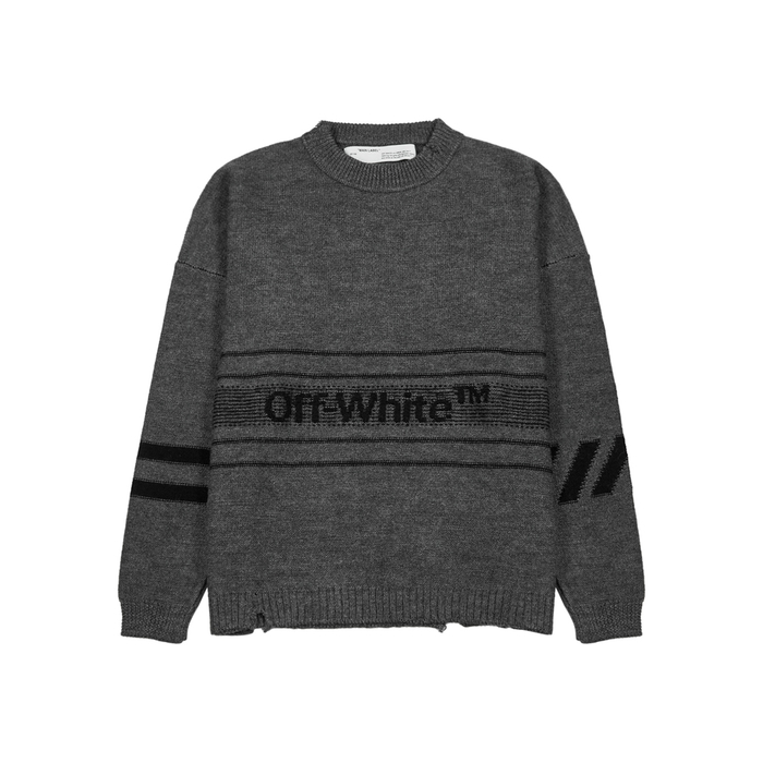 Off-White Logo Embroidered Wool Jumper