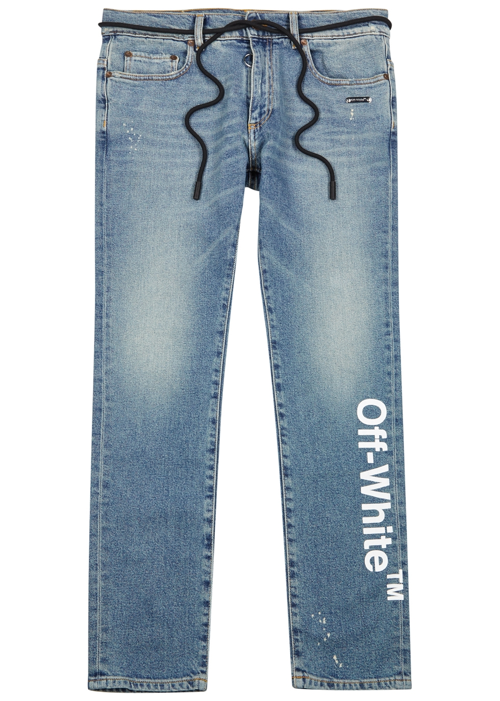 OFF-WHITE Skinny-Fit Printed Stretch-Denim Jeans in White
