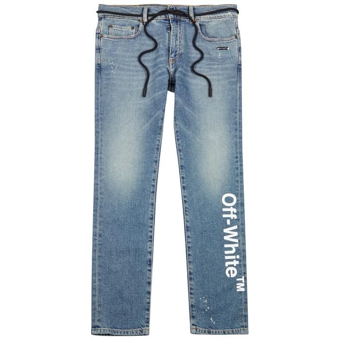 Off-White Blue Logo-print Skinny Jeans