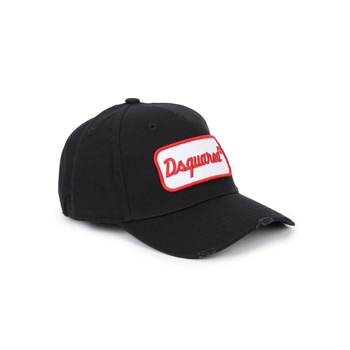 DSQUARED2 Black Appliquéd Cotton Cap