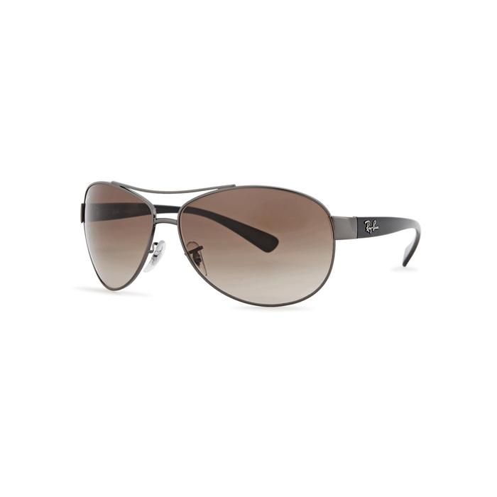 006c281506 Ray Ban Gunmetal Aviator-Style Sunglasses In Brown