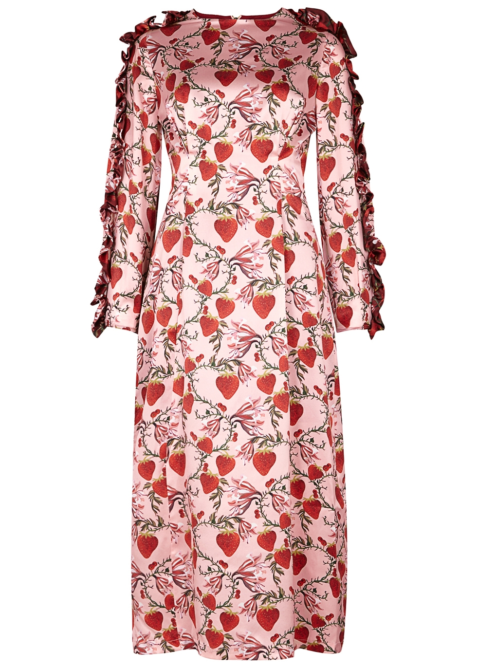 MOTHER OF PEARL WANDA STRAWBERRY-PRINT SILK SATIN DRESS