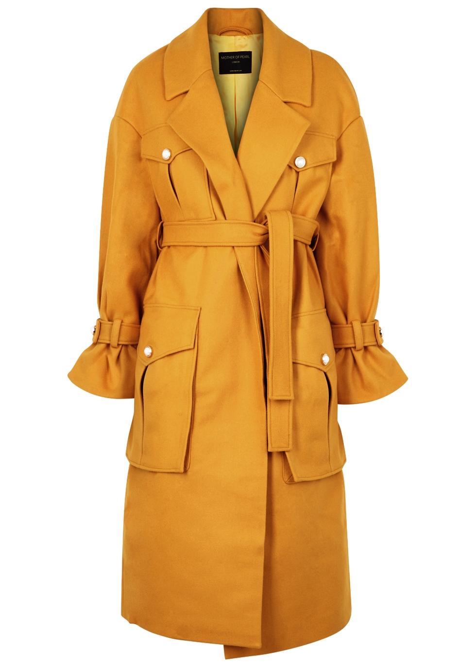 Mother Of Pearl Weston Mustard Wool-Blend Coat, Yellow