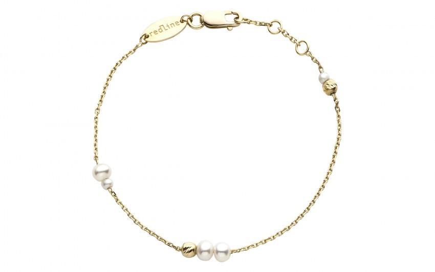 REDLINE 18Ct Yellow Gold Multi Pearl Chain Bracelet