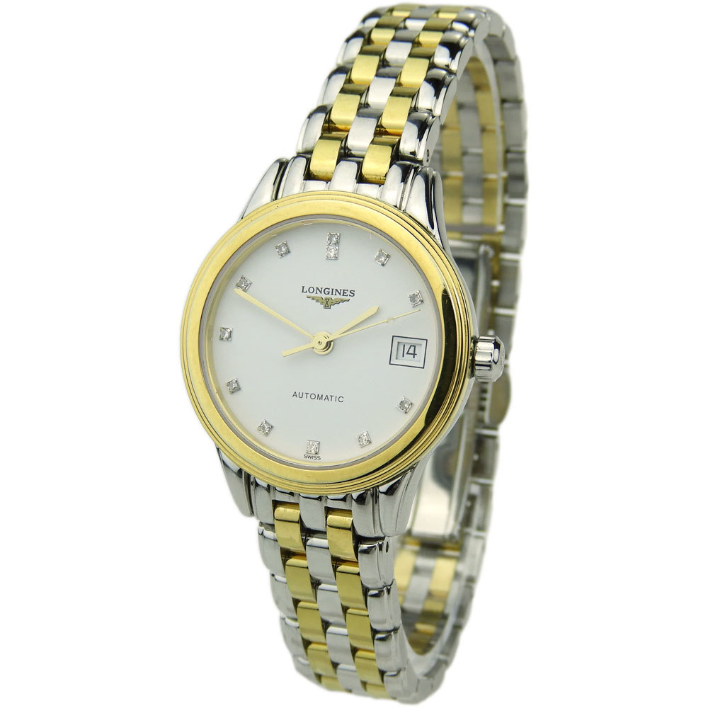 LONGINES LADY FLAGSHIP STEEL AND GOLD AUTOMATIC L4.274.3.27.7
