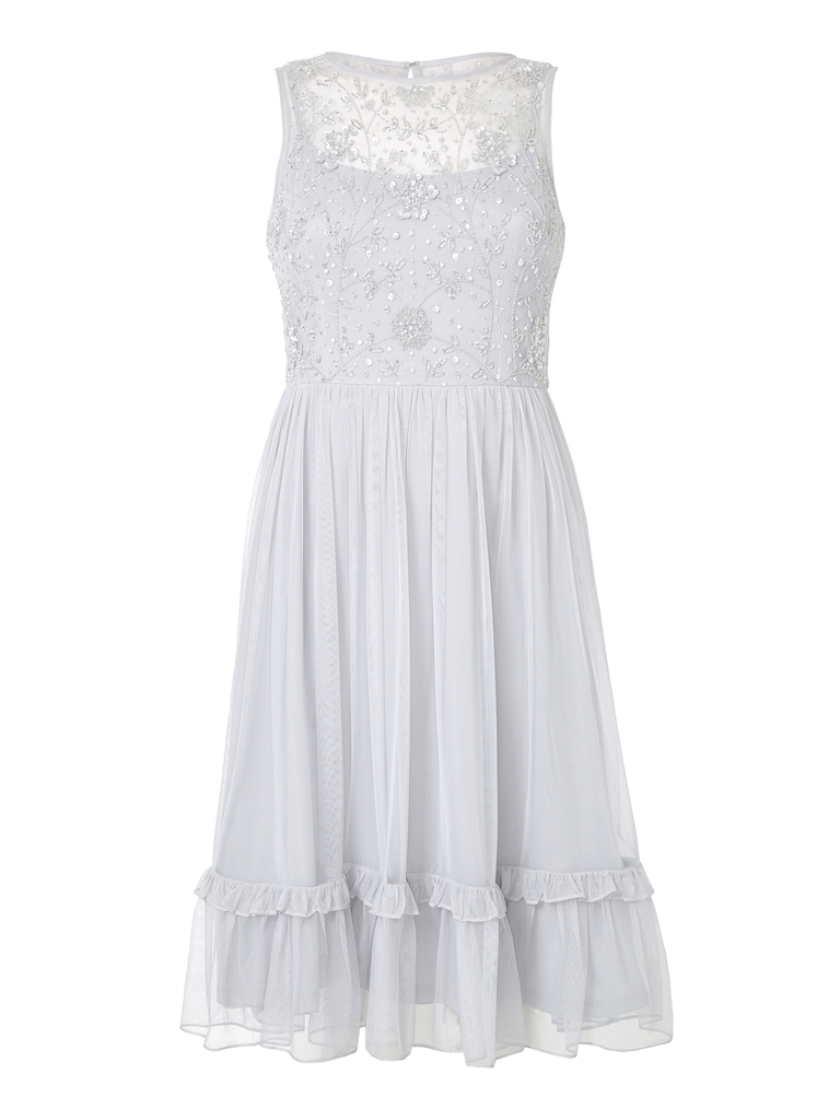 ADRIANNA PAPELL BEAD MIDI TIER PARTY DRESS