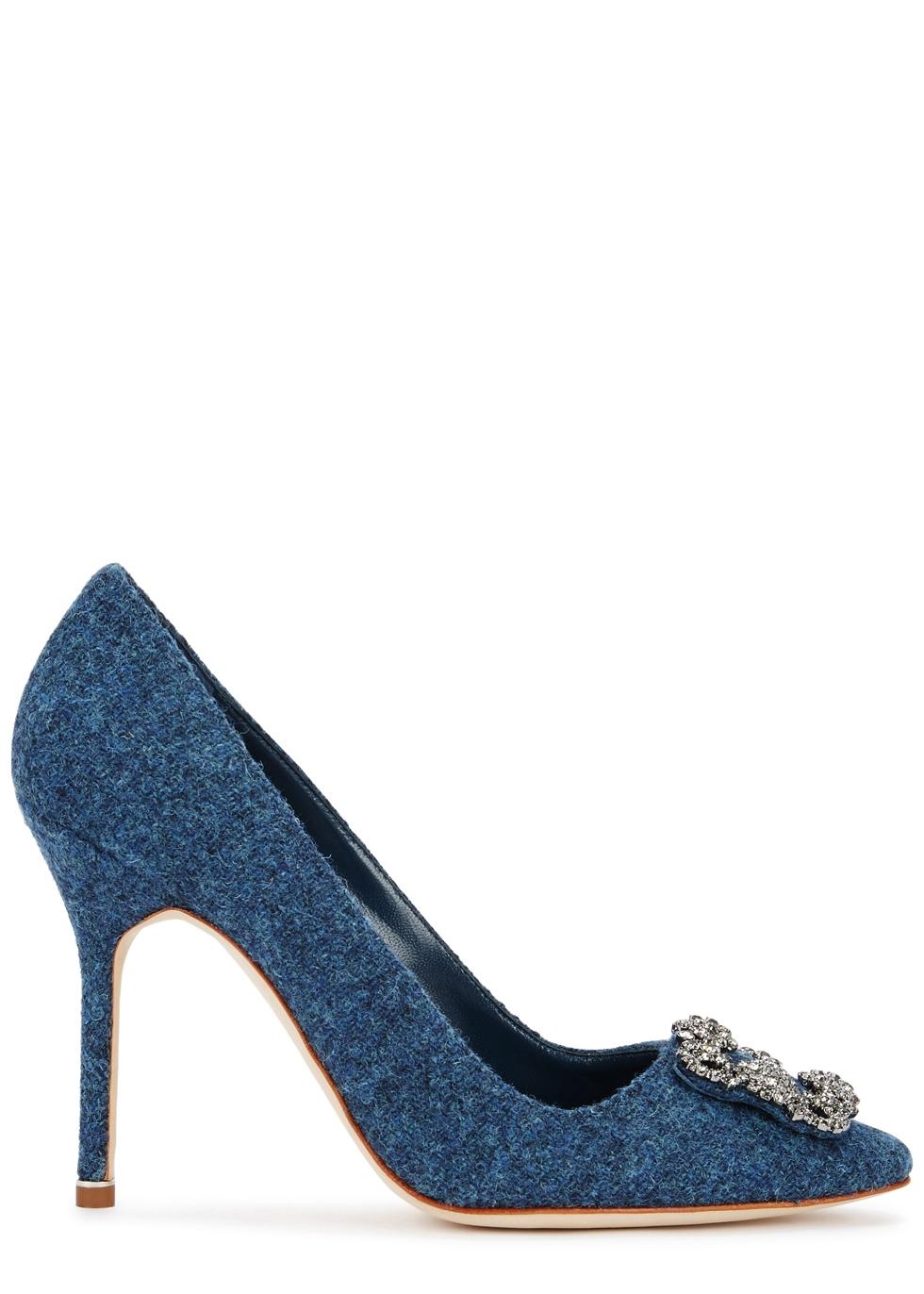 MANOLO BLAHNIK HANGISI 105 BLUE FELT PUMPS