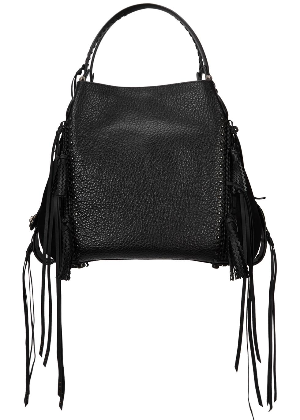 e90d5822a9 ... sweden edie 42 black fringed leather tote coach c27e3 f536c