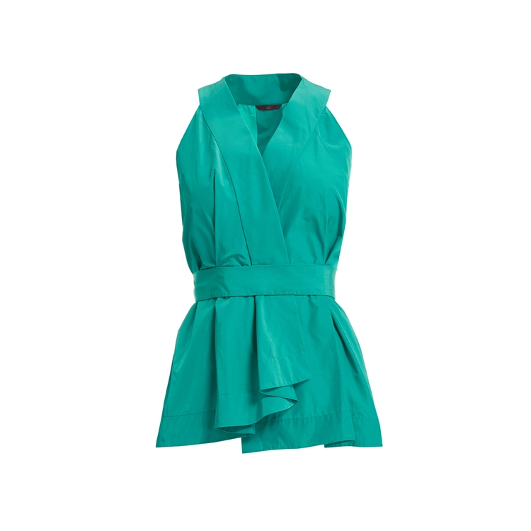Wtr  BETONICA TURQUOISE PAPER TOUCH PEPLUM TOP