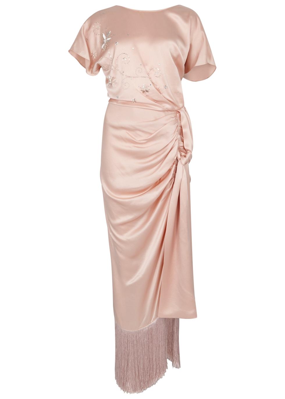MAGDA BUTRYM JUNO PINK EMBELLISHED SILK DRESS