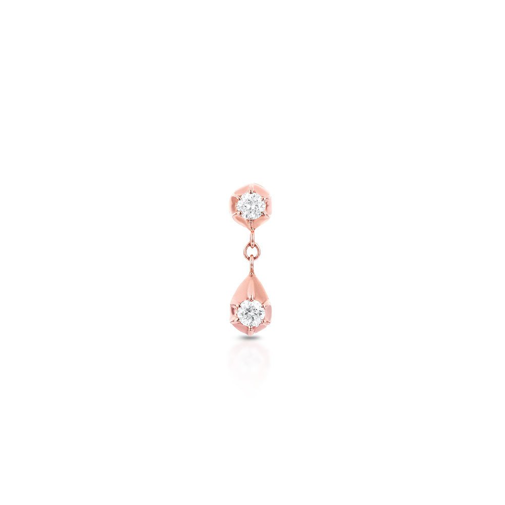 CARBON & HYDE 14CT ROSE GOLD BELLE TWO DIAMOND DROP SINGLE EARRING