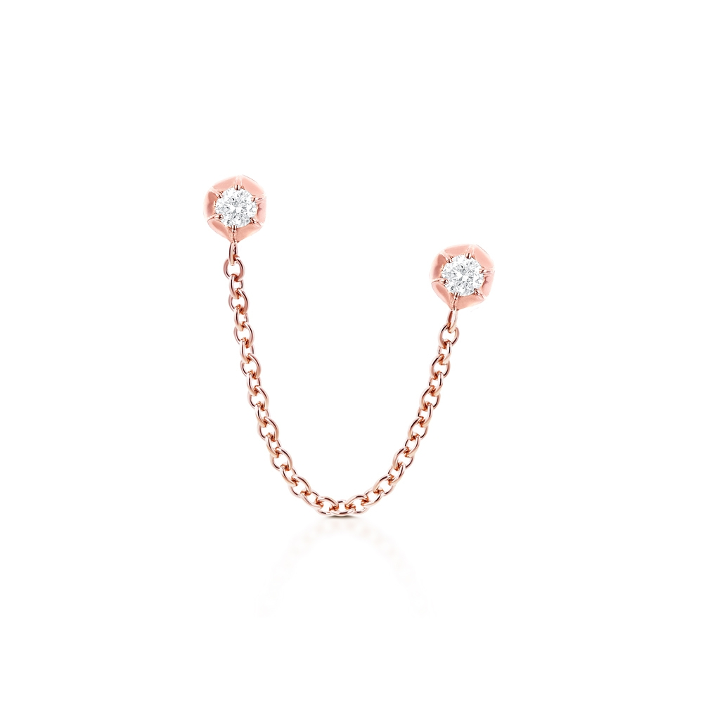 CARBON & HYDE 14CT ROSE GOLD ROSEBUD TWO DIAMOND SINGLE EARRING