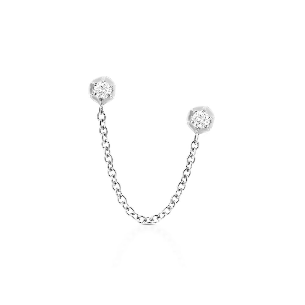 CARBON & HYDE 14CT WHITE GOLD ROSEBUD TWO DIAMOND SINGLE EARRING