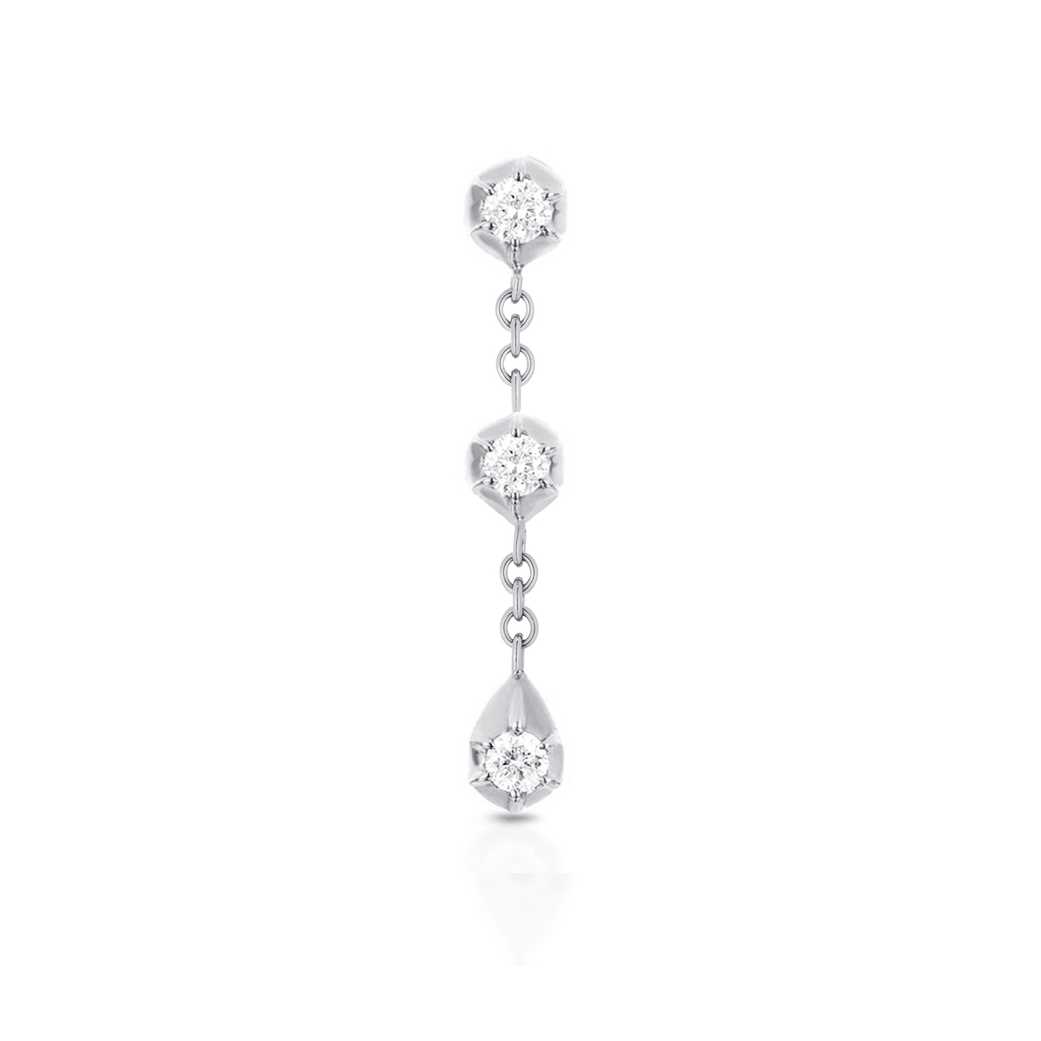 CARBON & HYDE 14CT WHITE GOLD TULIP THREE DIAMOND DROP SINGLE EARRING