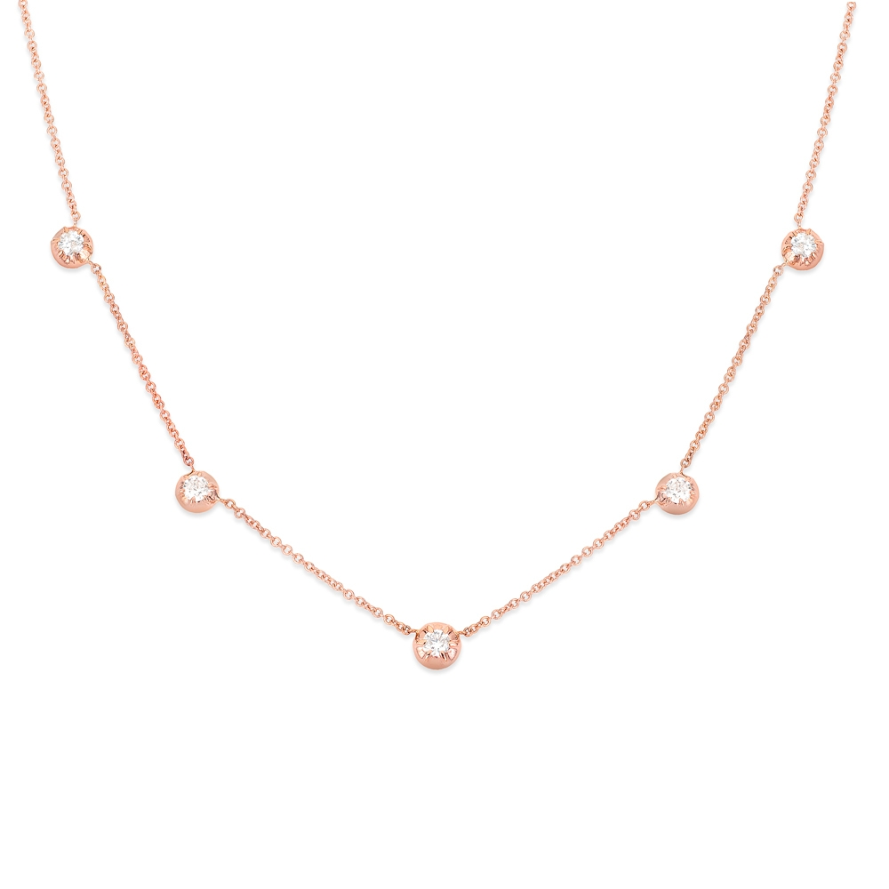 CARBON & HYDE 14CT ROSE GOLD ROSE CHOKER NECKLACE